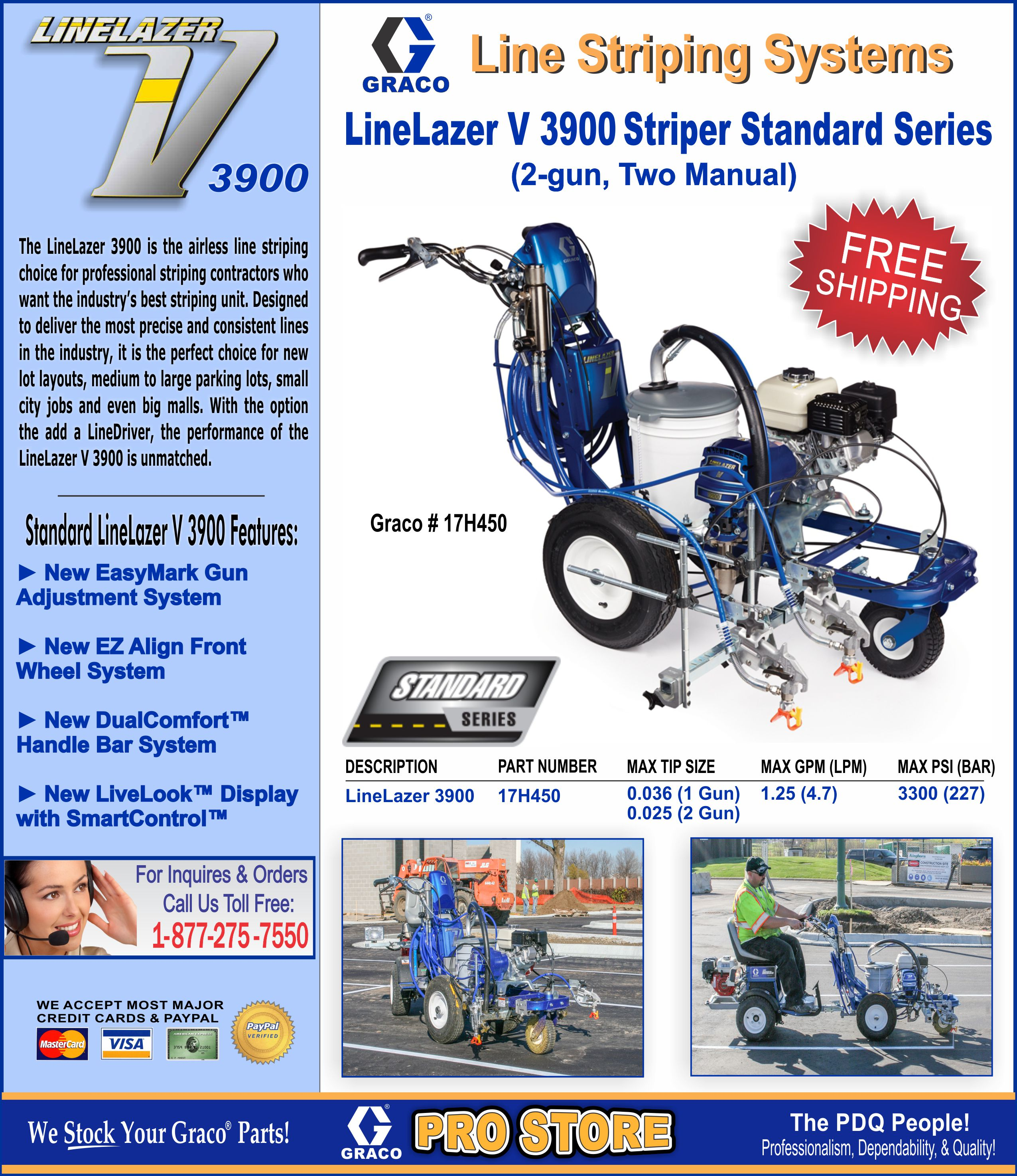 Graco linelazer v airless paint line striping systems for for Parking lot painting equipment